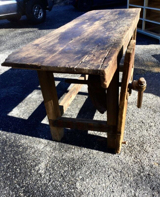 antique wood work bench With Leg Vise.