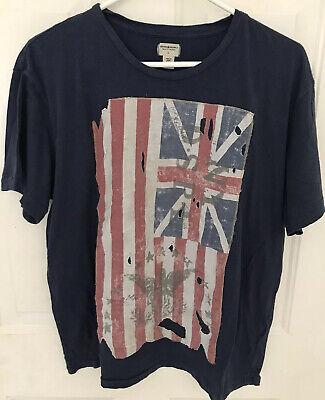 Denim & Supply Ralph Lauren Mens T-shirt Blue/distressed union Jack Flag Size L Denim Distressed T-shirt