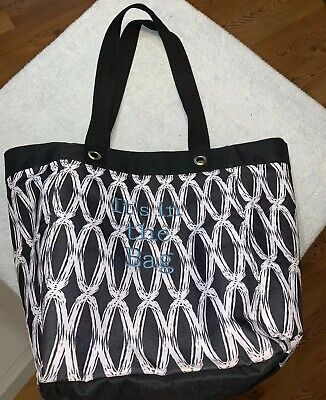 Thirty-One It's In The Bag Large Tote Carrying Bag Black/White Double Strap Pool White Carrying Bag
