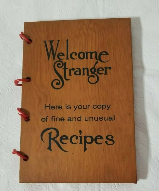 Vintage Welcome Stranger Recipes with  WOOD COVER Fort Lauderdale Fl.