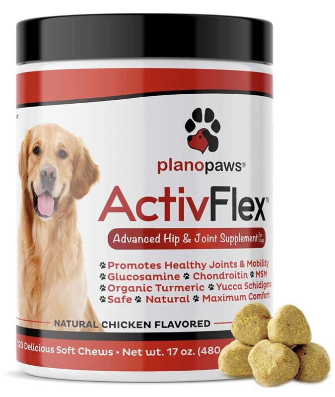 Natural Dog Joint Supplement with Glucosamine Chondroitin MSM Turmeric 120 Chews