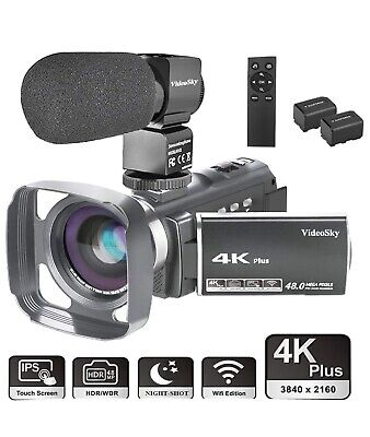 4K Video Camera Camcorder Ultra HD 48.0MP VideoSky WiFi Digital Vlogging Camera
