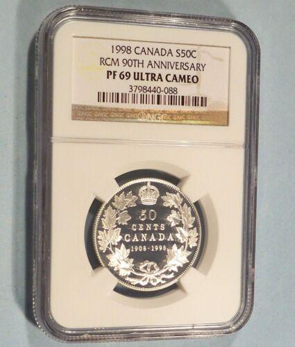 1998 50c CANADA NGC PF 69 ULTRA CAMEO SILVER HALF DOLLAR PROOF 90th ANNIVERSARY