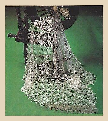 Shetland Lace Shawl (Baby Lace Cobweb Shetland Shawl Knitting Pattern - Heirloom - Vintage  1ply)