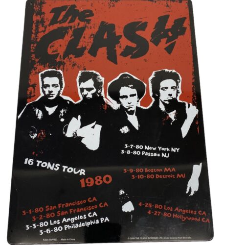 Bravado THE CLASH Tin Metal Wall Sign- Replica 1980 16 Tons Tour Poster Graphic