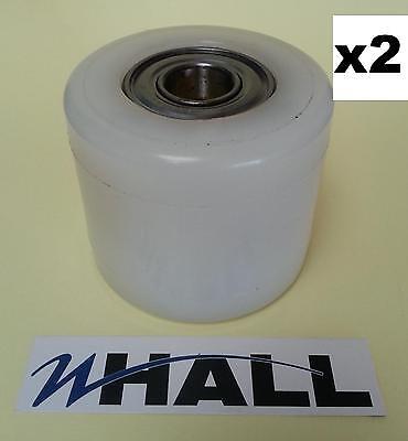 x2no D82 x70mm white nylon pallet truck Tandem load rollers/ wheels inc bearings