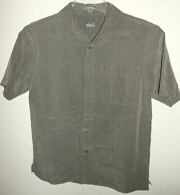 Royal Robbins Desert Pucker Gray Check Short Sleeve Button Down Camp Shirt Small
