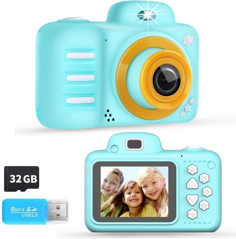 Phankey Kids Camera,12MP, 1080P Kids Video Camera,2.4 Inch Screen, W/ 32GB Card - $27.99