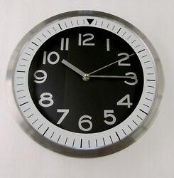 NEW 12' DW PRINT IRON 3AST WALL CLOCK WITH BLACK  DIAL -- FS 2551BD