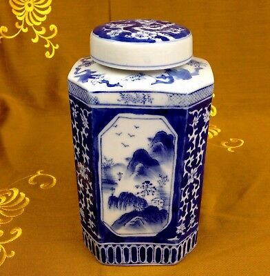 XL Deckelvase Ingwertopf Teedose Porzellan China Blau Handmalerei Höhe: 22,5 cm