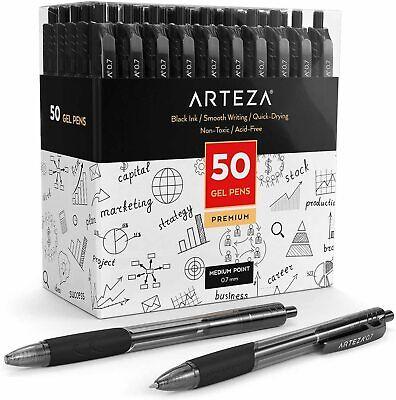 Arteza Retractable Gel Ink Pens Black - 50 Pack