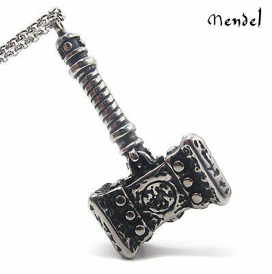 MENDEL Mens Viking Thor's Hammer Necklace Pendant Mjolnir Odin Stainless Steel