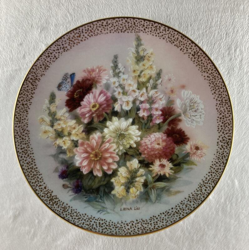 ZINNIA FINALE Plate Symphony of Shimmering Beauty #12 Lena Liu Floral + COA Gold