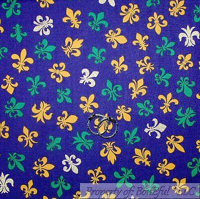 BonEful Fabric Cotton Quilt Purple Yellow Green White Fleur De Lis Baby 01 - Mardi Gras Fabric
