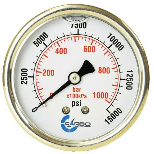 "2-1/2"" Pressure Gauge, ALL STAINLESS STEEL, Liquid Filled, Back Mnt, 15000 Psi"