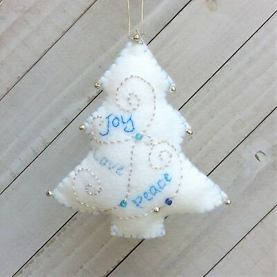 Christmas Tree Ornament  Holiday Felt Embroidery Kit in Silver and Blues - Christmas Tree Ornament Kits