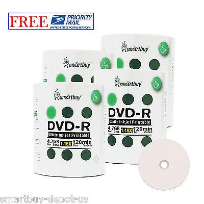 Smart Buy 400 Pcs Smartbuy White Inkjet Hub Printable Dvd...