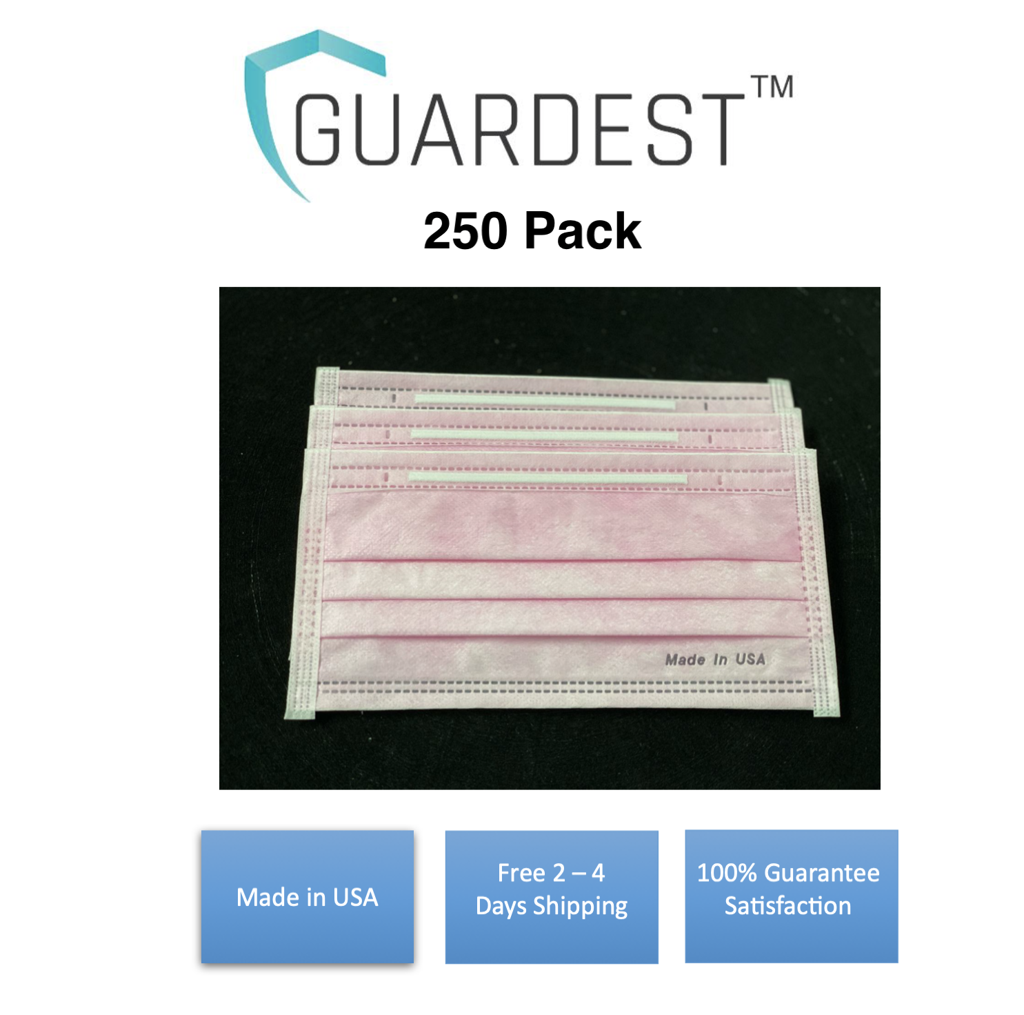 MADE IN USA! Guardest 250 Pack 3-Ply Disposable Protective Breathable Wear Pink