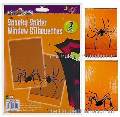 Black Spider Silhouettes Halloween Window Decoration Prop Party Spooky - 2 PACK - Halloween Spider Silhouettes