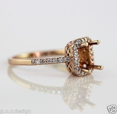 0.20 Carat Emerald Cut Halo Diamond Semi Mount Ring for 7x5 Emerald Cut Stone