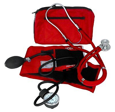 Dixie Ems Professional Blood Pressure Kit W Sprague Stethoscope Red