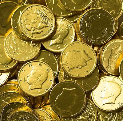 Solid Milk Chocolate Large Kennedy Gold Coins - 2 Full Pounds Bulk Wholesale - Bulk Chocolate Coins