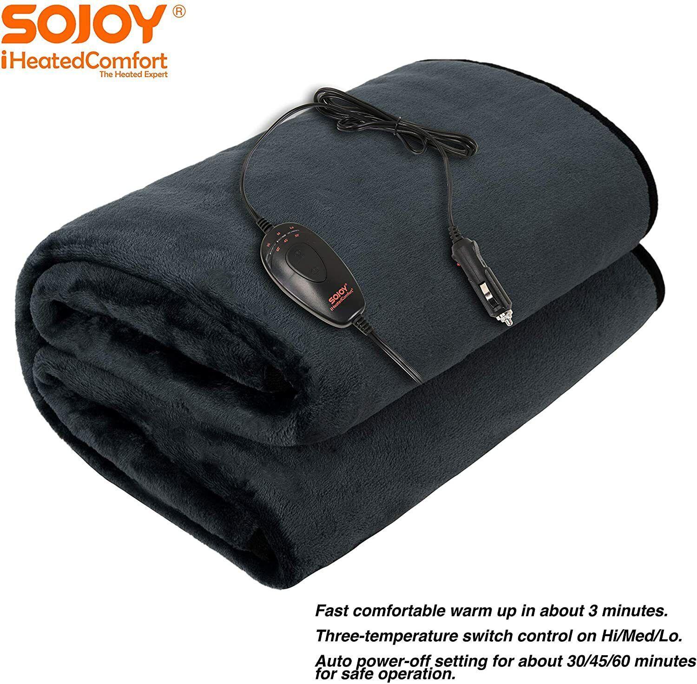Sojoy 12V Heated Blanket Car Truck Electric Blanket Hi/Low H