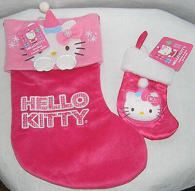 Hello Kitty CHRISTMAS STOCKING SET LARGE & MINI DARK PINK PLUSH NWT