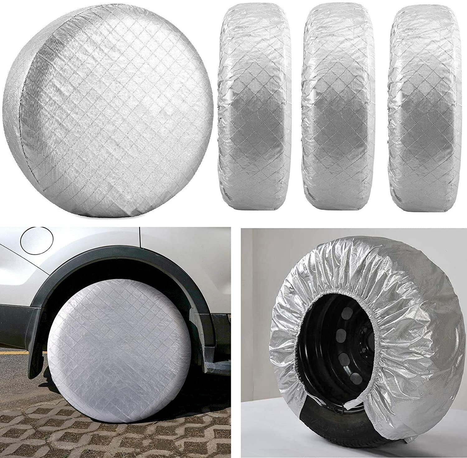 Tire Covers for RV Wheel Covers Motorhome Tires Set of 4, Waterproof UV Sun Tire Car & Truck Parts