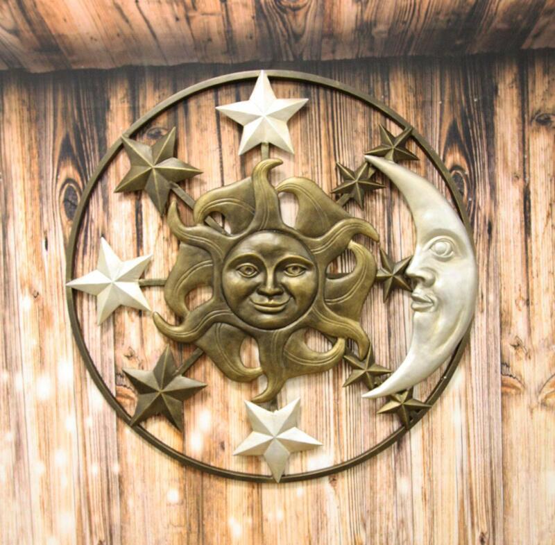 "Large 33""W Aluminum Celestial Heavens Sun Moon And Stars Astrology Wall Decor"