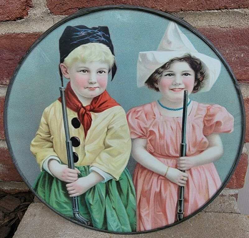 Rare Antique Flue Cover Victorian Era Chimney Fireplace Stove Decor Kids w/ Guns