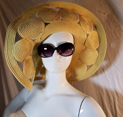 Kate Landry Unique Sophisticated 6 inch X- wide brim Hat with cut-out circles