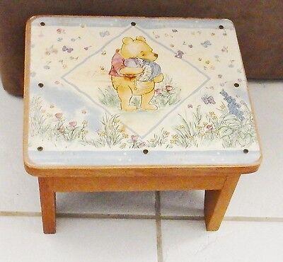 Disney Winnie The Pooh Wood Step Stool Kids hand Crafted Furniture VINTAGE