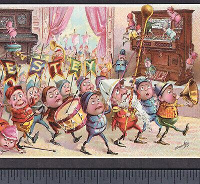 Estey Organ Piano Palmer Cox Brownies Elf Parade Music old Victorian Trade Card