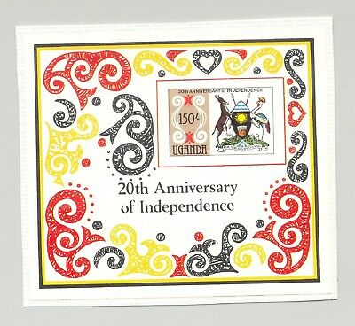 Uganda 1982 Independence, Coat of Arms 1v S/S Imperf Proof on Card Unissued