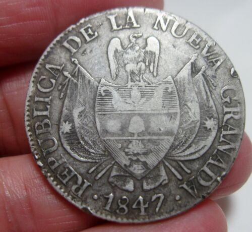 1847 (COLOMBIA) 10 REALES (SILVER) REPUBLIC of NUEVA GRANADA (POPAYAN) -RARE-