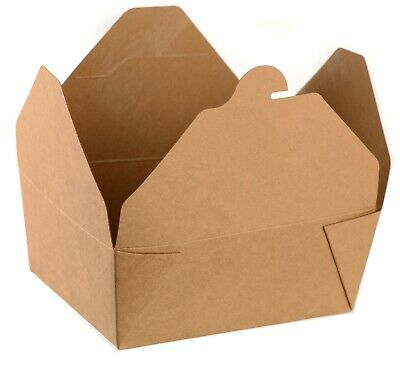 50 Pack Paper Take Out Food Containers 45 Oz Kraft Brown Take Out Boxes To Go