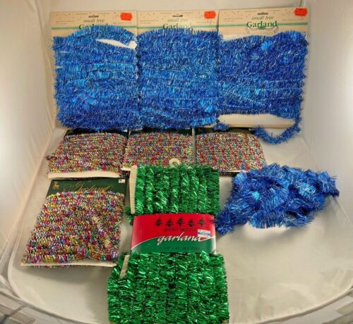 Vintage Shiny Tinsel Garland LOT, Green, Blue, Multi Color, Made in USA,  NOS