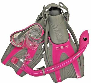 Pink-Youth-Kids-L-XL-Aqua-Lung-Snorkel-Mask-Fins-Size-3-6-Snorkeling-Bag-Set