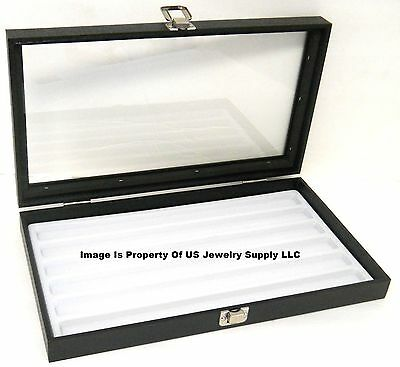 1 Glass Top Lid White 6 Slot Jewelry Display Case Chain Organizer Hobby Case