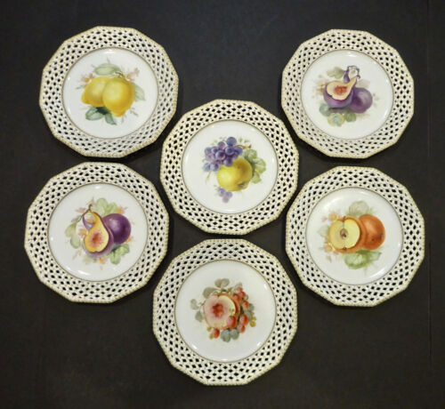 6 Nymphenburg Fruit Plates, Reticulated