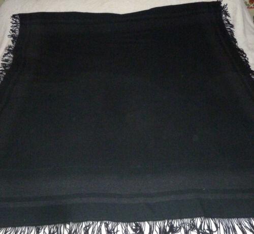 "Wool Amish Mennonite Carriage Sleigh Buggy Lap Blanket Throw 63"" x 59"" 3"" Fringe"