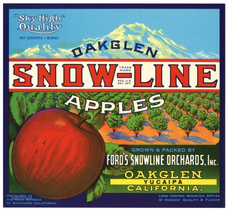 SNOW-LINE Brand, Oakglen, Yucaipa, California *AN ORIGINAL APPLE FRUIT LABEL*