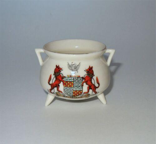 W.H. GOSS Crested Heraldic China Mini Miniature Model of Manx Reel Pot Whitehead