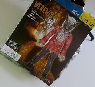 Boys Werewolf Mask (Boys WEREWOLF COSTUME L 10-12 New MASK Shirt w/ Faux Wolf Fur WRIST CUFFS 4pc)