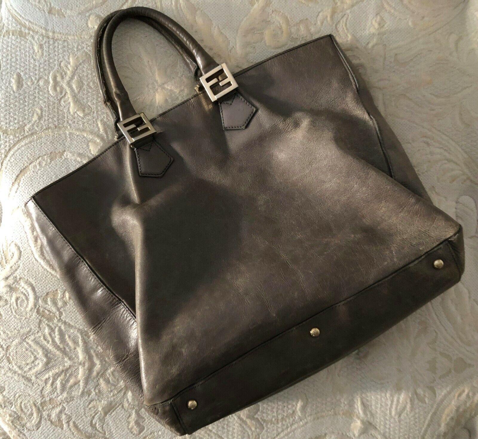 FENDI TWIN Large Handbag * Leder Handtasche Schlamm Grau