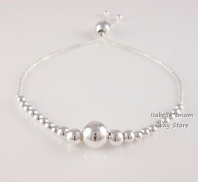 STRING OF BEADS Authentic PANDORA Silver Beaded BRACELET 597749 NEW w POUCH! ()