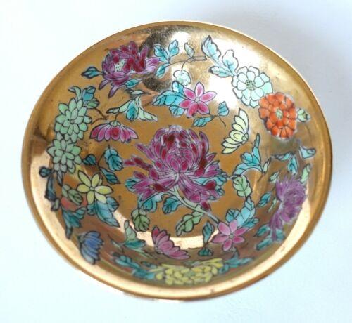 "Chinese Porcelain Chrysanthemum Floral Print 2.5"" Saucer Small Plate Jingdezhen"