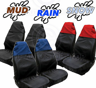 Universal Water Resistant Front Car Seat Covers In Red, Blue or Black Top Panel