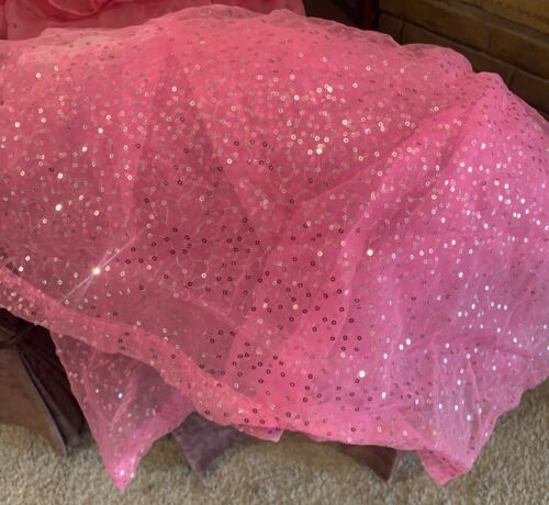 Twin Size Pink Justice Sequins Bedskirt Pink Sequin Bed Skirt NEW